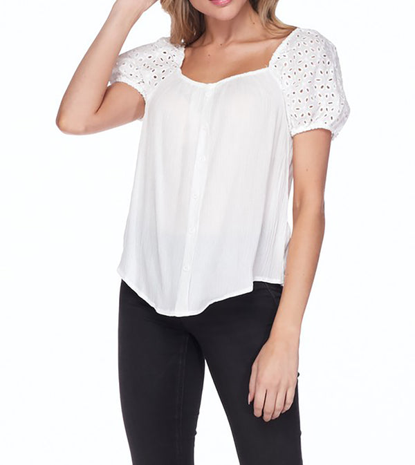 WOMEN EYELET PUFF SLEEVES SQUARE NECK TOP