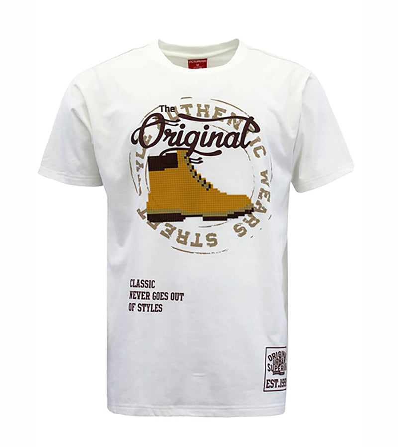 MEN OG BOOTS PIXEL T-SHIRT - WHITE