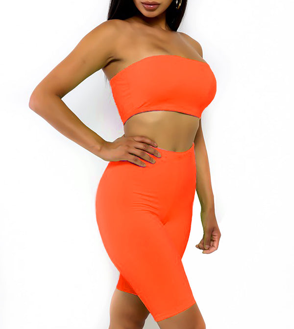 WOMEN TWO PIECE NEON STRAPLESS BIKER SHORTS SET - NEON ORANGE