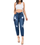 WOMEN HIGH WAIST DISTRESSED CARGO JOGGERS
