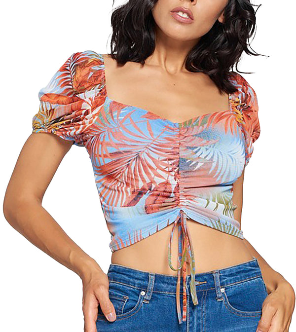 WOMEN MESH DRAWSTRING RUCHED FRONT PRINT TOP - BLUE