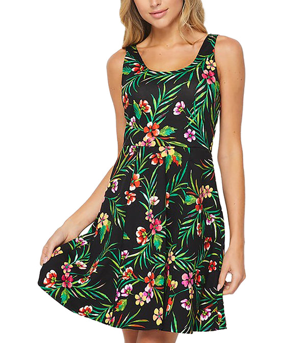 WOMEN TROPICAL FOREST SCOOP NECKLINE SWING DRESS