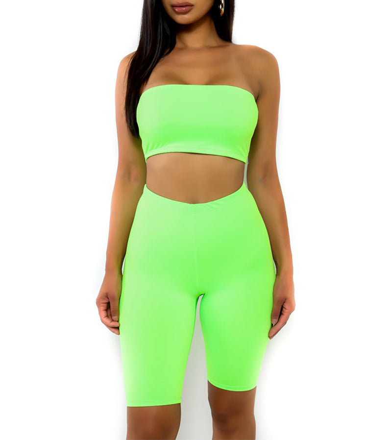 WOMEN TWO PIECE NEON STRAPLESS BIKER SHORTS SET - NEON GREEN