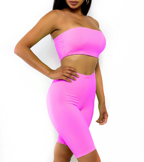 WOMEN TWO PIECE NEON STRAPLESS BIKER SHORTS SET - NEON PINK