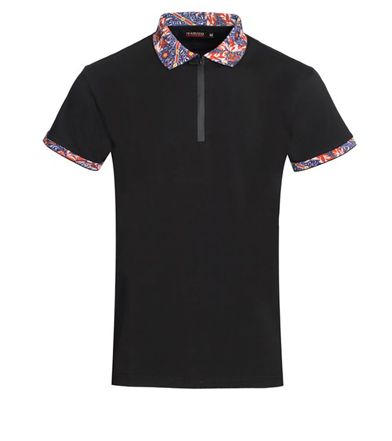 MEN LIVELY ABSTRACT FLORAL TRIMS ZIP POLO - BLACK