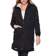WOMEN NYLON AND SHERPA REVERSIBLE CONTRAST COAT - BLACK