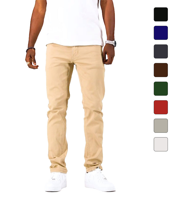 MEN COLORED SKINNY TWILL JEANS - WHITE