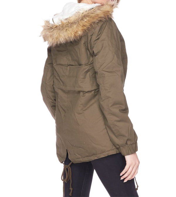 WOMEN FLEECE LINED FUR CONTRAST SAFARI JACKET- OLIVE