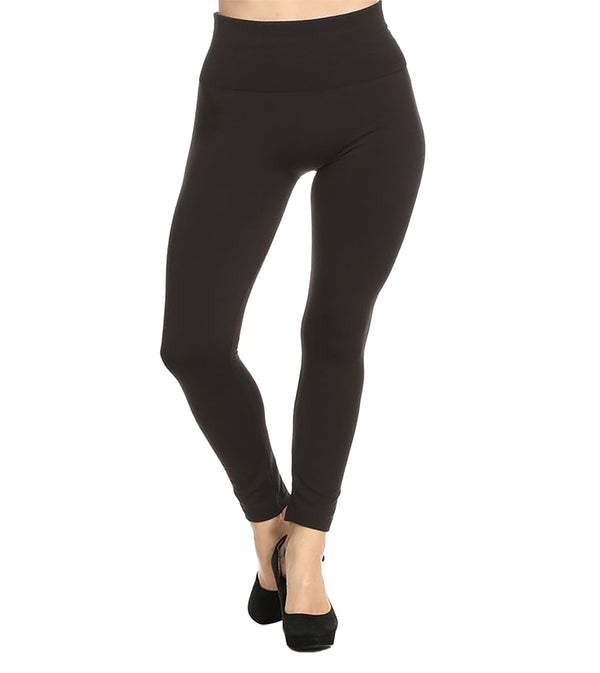 WOMEN HIGH WAIST FULL LENGTH FLEECE LINED LEGGINGS (2PK)