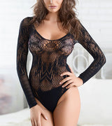 WOMEN CROCHET LONG SLEEVE TEDDY BODYSUIT