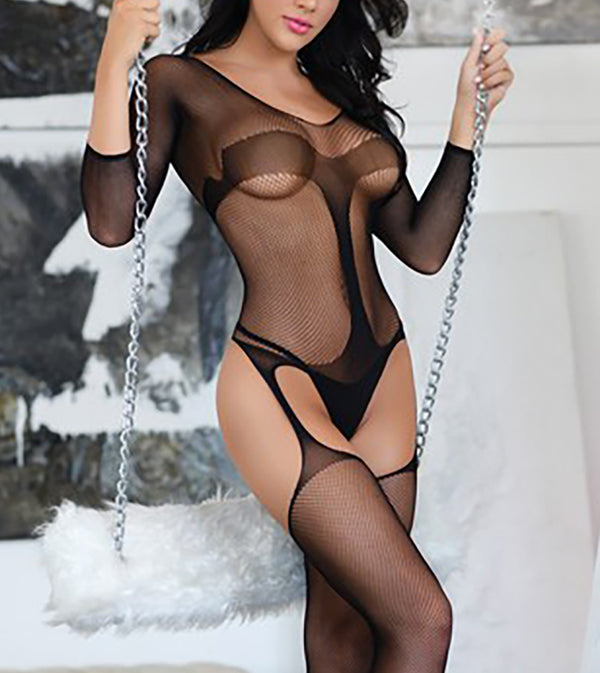 WOMEN IN CONTROL FISHNET STRIPE GARTER BODYSTOCKING