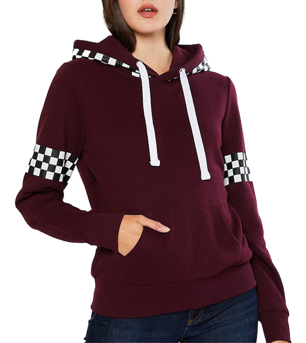 WOMEN FLEECE PULLOVER HOODIE WITH CHECKERBOARD PRINT - MAROON