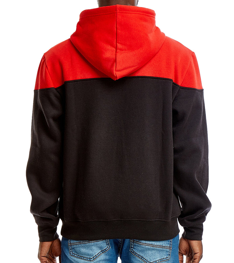 MEN COLOR BLOCK PULLOVER HOODIE SWEATSHIRT - RED
