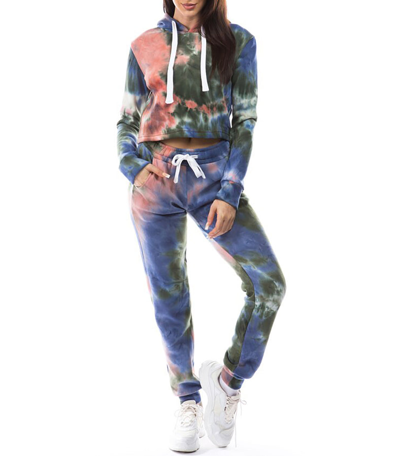 WOMEN TIE DYE TWO PIECE FLEECE CROP HOODIE JOGGER SET - BLUE