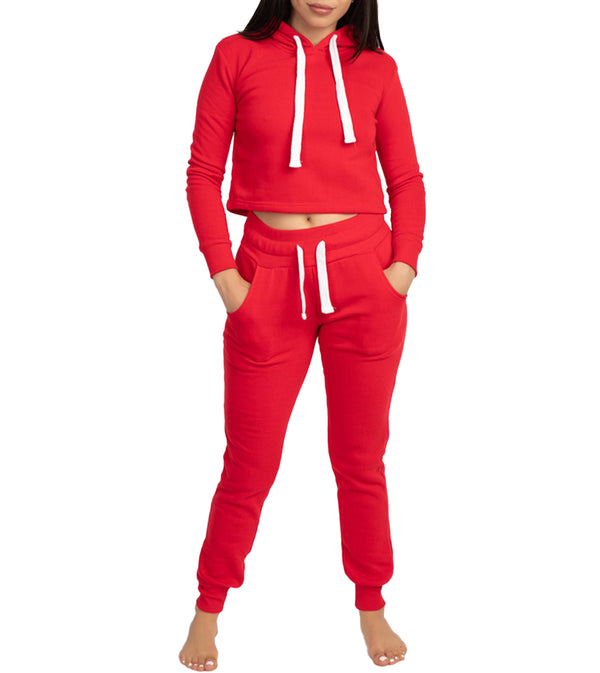 WOMEN TWO PIECE FLEECE CROP HOODIE JOGGER SET - RED