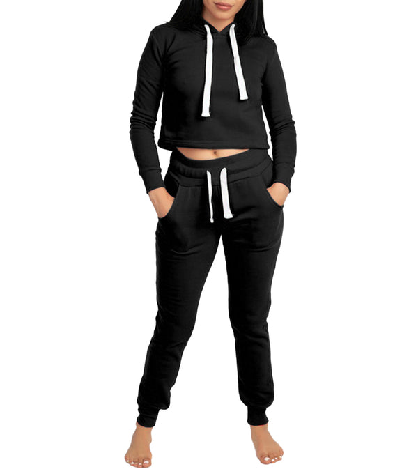 WOMEN TWO PIECE FLEECE CROP HOODIE JOGGER SET - BLACK