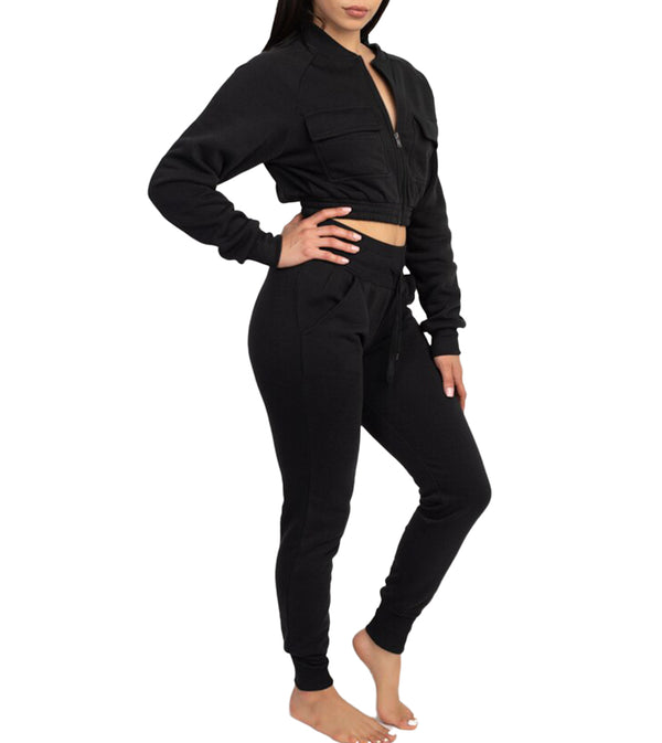 WOMEN TWO PIECE FULL ZIP CROP FLEECE SET