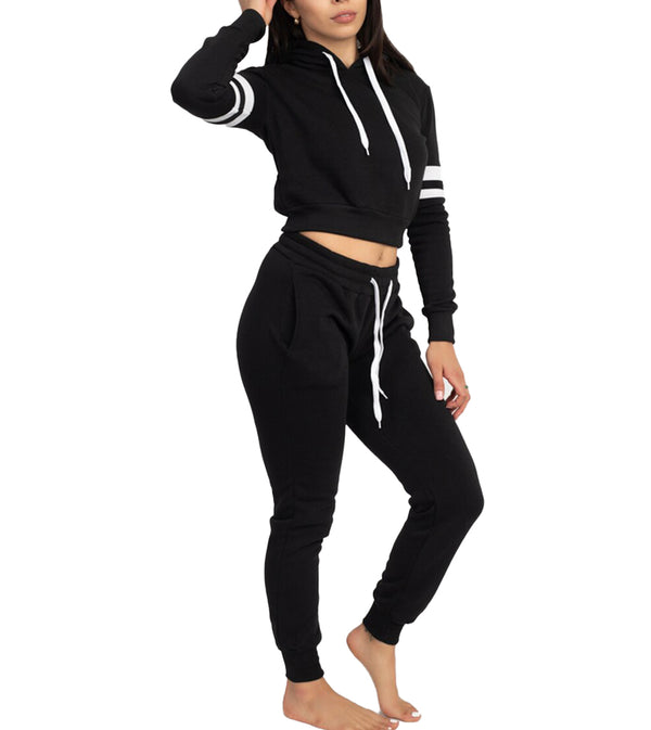 WOMEN TWO PIECE DOUBLE ARM BAND FLEECE SET - BLACK