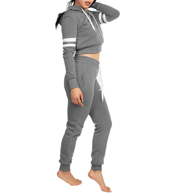 WOMEN TWO PIECE DOUBLE ARM BAND FLEECE SET - HEATHER GREY
