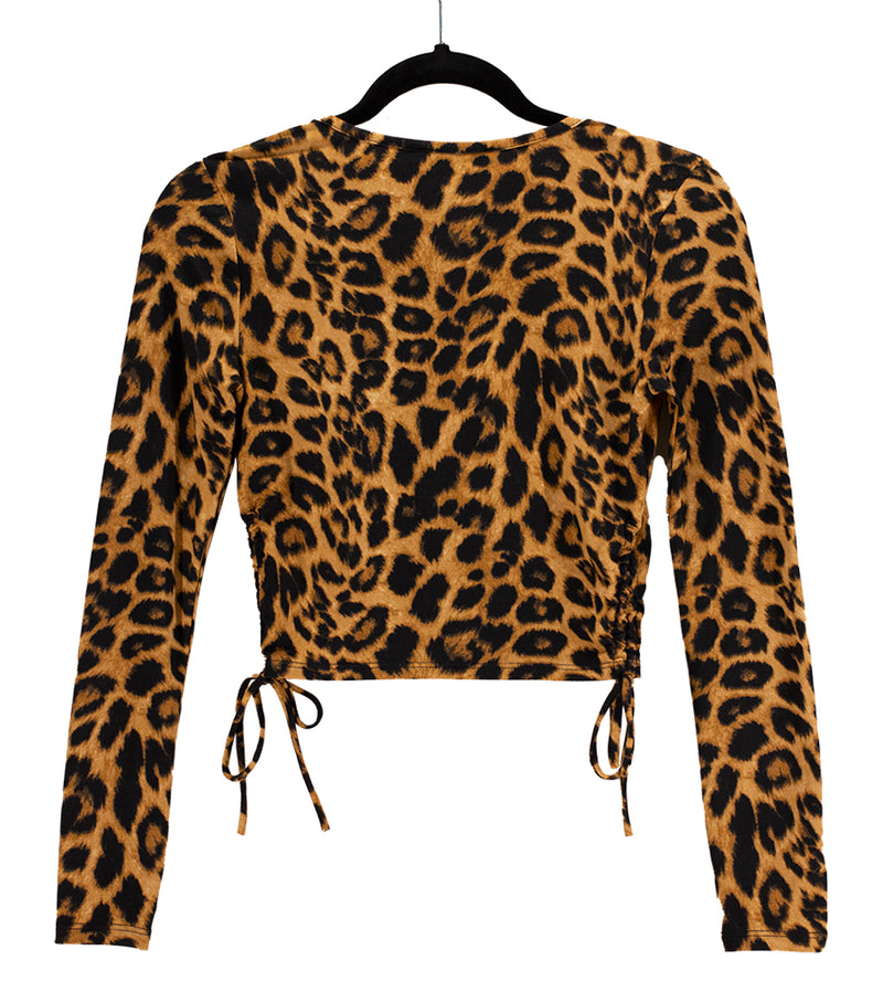 WOMEN LEOPARD SIDE RUCHED LONG SLEEVES CROP TOP
