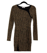 WOMEN GOLD LEOPARD LONG SLEEVES DRESS