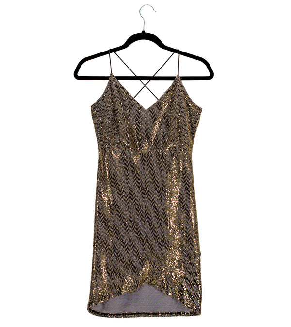 WOMEN BLACK AND GOLD SEQUIN SPAGHETTI STRAP DRESS