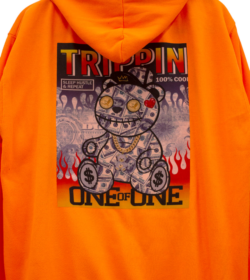 MEN NEON ORANGE TRIPPIN GRAPHIC HOODIE SWEATSHIRTS