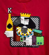 MEN KING CARD CHENILLE AND EMBROIDERED LONG SLEEVS SWEATSHIRTS