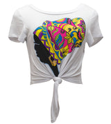 WOMEN AFRO GIRL RHINESTONE GRAPHIC PRINT CROP TOP - WHITE