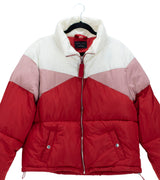 WOMEN PLUS COLOR BLOCK HIGH NECK PUFFER JACKET - WHITE / RED