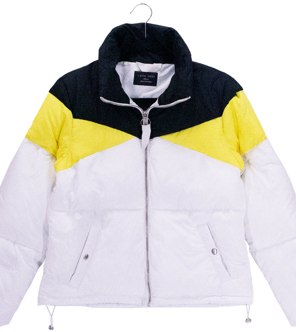 WOMEN COLOR BLOCK HIGH NECK PUFFER JACKET - WHITE / BLACK