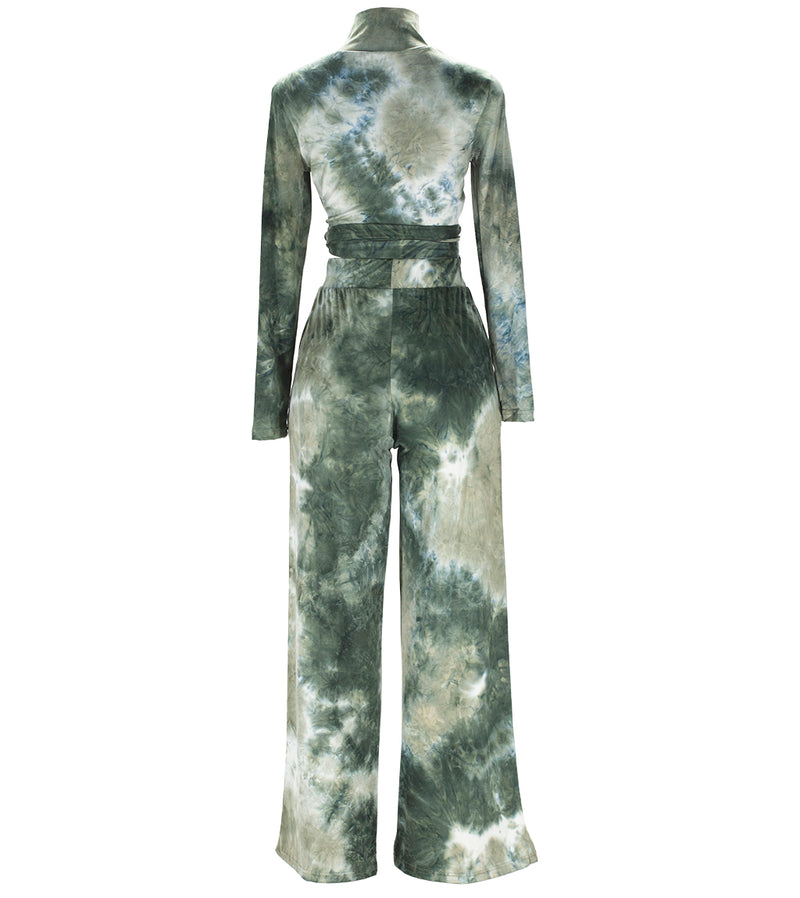 WOMEN YUMMY TIE DYE FRONT TIE TOP & HIGH SLIT PALATZO SET - GREEN