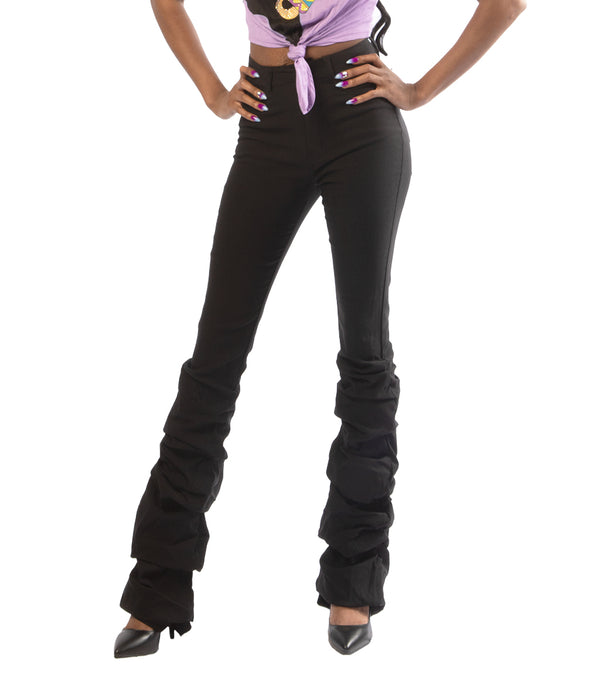 WOMEN RAYON SCRUNCHIE BOTTOM PANTS - BLACK