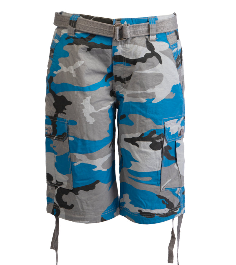 MEN ABLANCHE BELTED CARGO SHORTS - TEAL CAMO