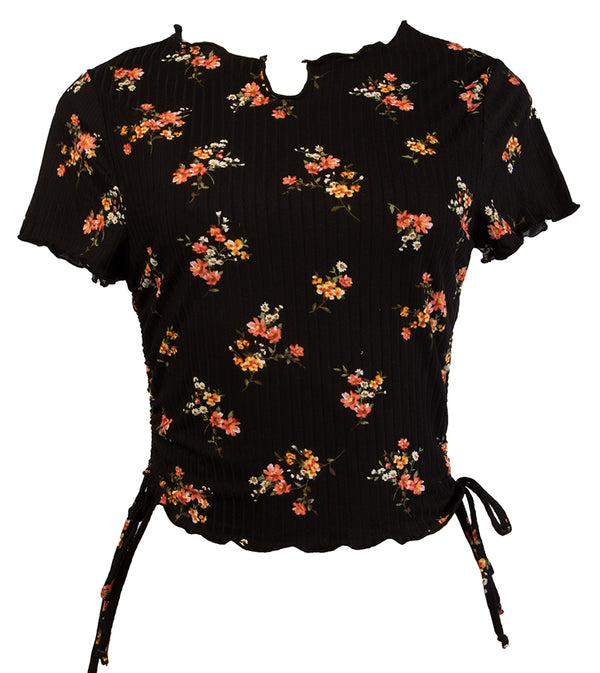 WOMEN FLORAL CROP TOP WITH SIDE STRINGS - BLACK