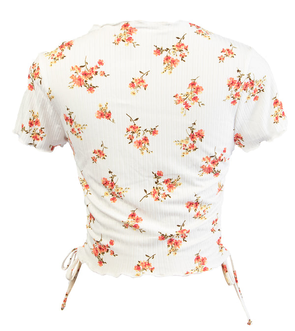 WOMEN FLORAL CROP TOP WITH SIDE STRINGS - IVORY