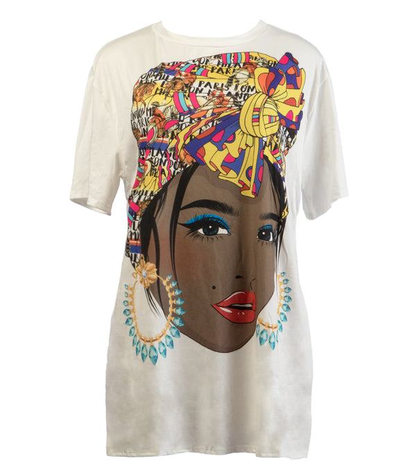 WOMEN GRAPHIC SIDE SLIT T-SHIRT