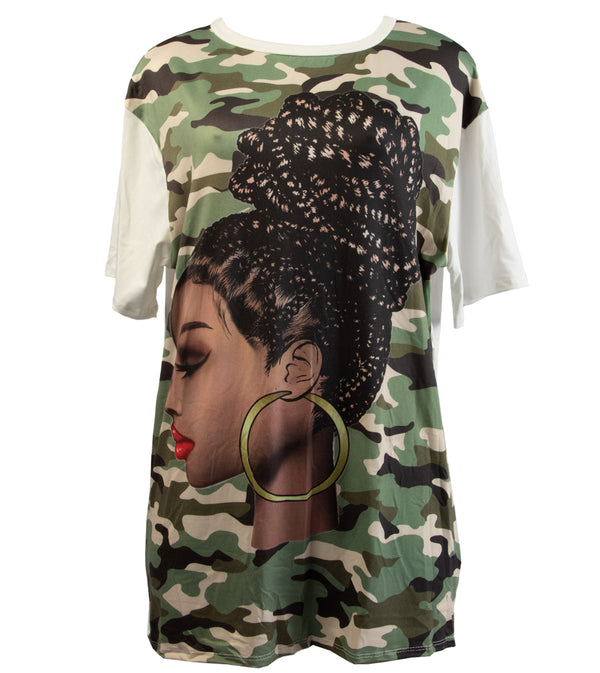 WOMEN ARMY PRINTED TUNIC TOP
