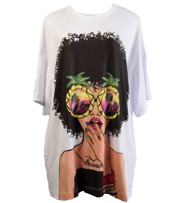 WOMEN OVERSIZE PINEAPPLE SUNGLASS GRAPHIC TUNIC TOP