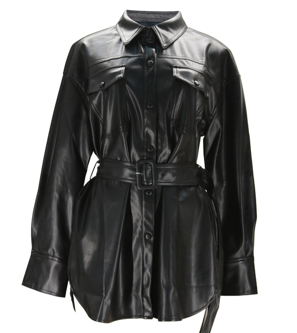 WOMEN FLAP POCKET BUCKLE BELT PU JACKET DRESS