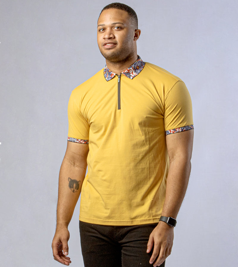 MEN LIVELY ABSTRACT FLORAL TRIMS ZIP POLO - MUSTARD