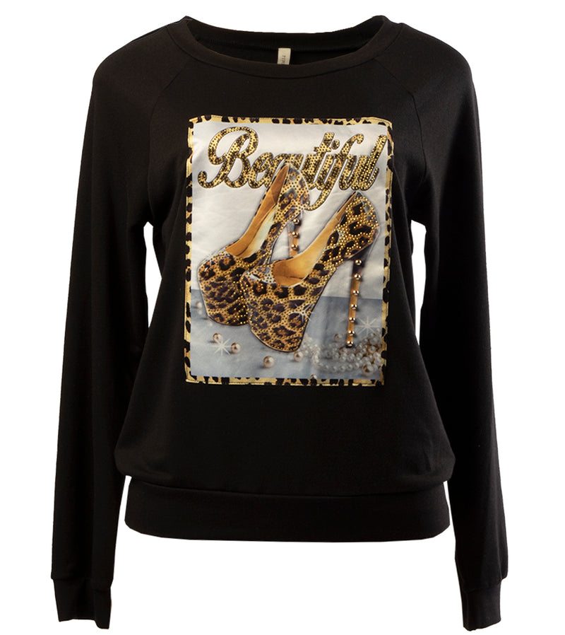 WOMEN BLACK HIGH QUALITY PRINT WITH RHINESTONE TOP