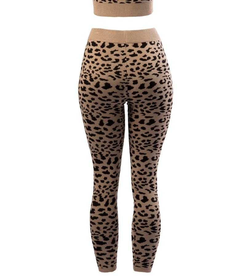 WOMEN LEOPARD PRINT KNIT SET
