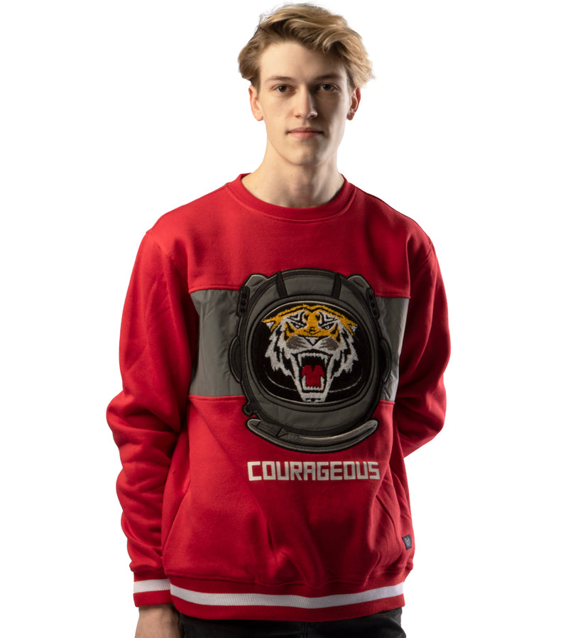MEN CHENILLE EMBROIDERED TIGER LONG SLEEVES SEATSHIRTS - RED