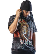 MEN LION CROWNED KING SHORT SLEEVES T-SHIRT - BLACK