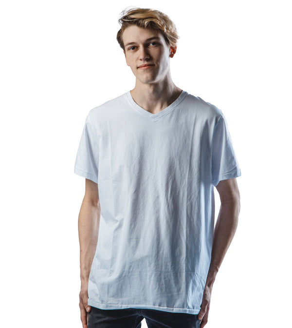MEN PERRUZO SIMPLE V-NECK WITH FLORAL LINING - WHITE