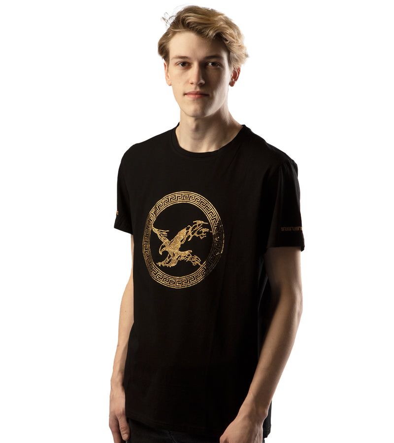 MEN PERRUZO RHINESTONE DETAILS EAGLE MOTIF T-SHIRT - BLACK