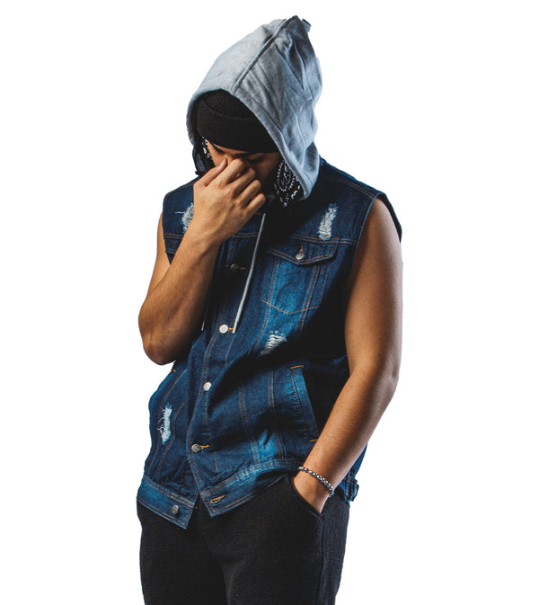 MEN DENIM HOODIE VEST JACKET - BLUE WASH