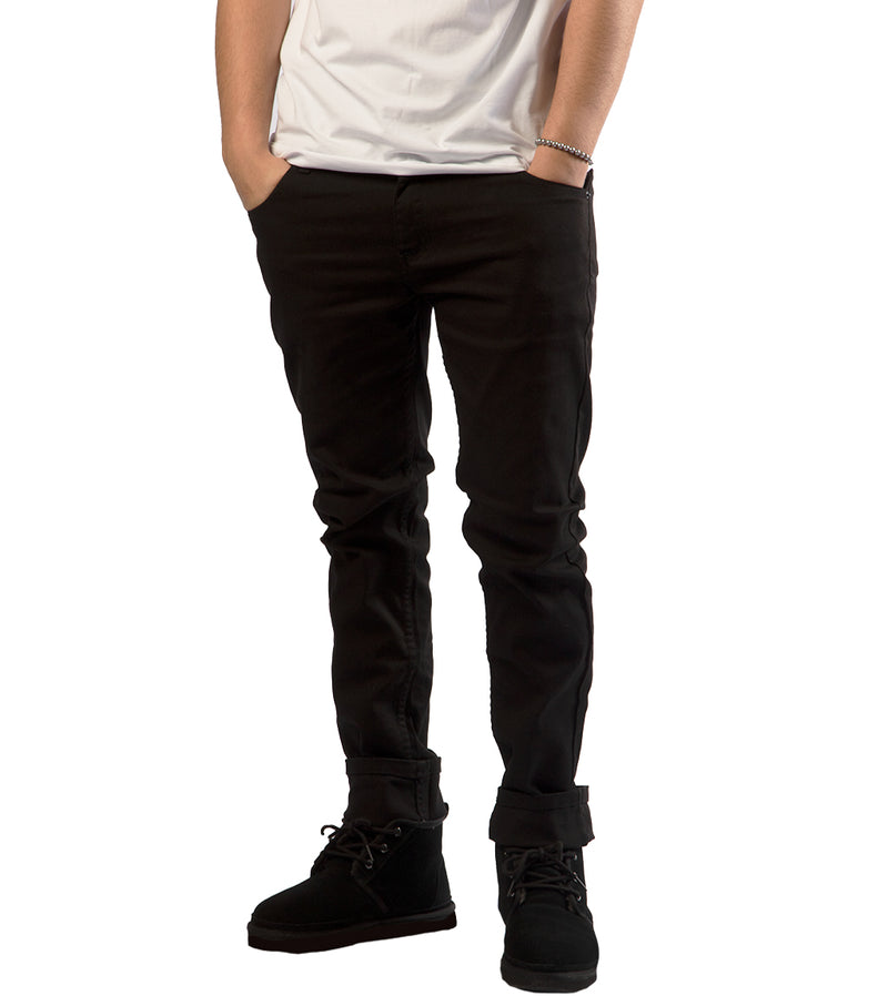 MEN COLORED SKINNY TWILL JEANS - BLACK