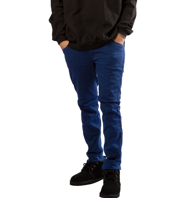 MEN COLORED SKINNY TWILL JEANS - ROYAL BLUE